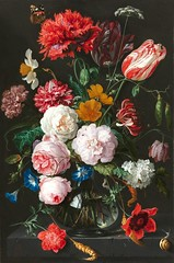Still Life with Flowers in a Glass Vase (1650-1683) (Swallowtail Garden Seeds) Tags: stilllife painting art flowers carnation dianthus tulips narcissus roses roseflowers anemone convolvulus ranunculus sweetpeas fritillaria fritillary snail insect buds blossom blooms bouquet cutflowers butterfly poppies papaver poppy hydrangea red white pink orange blue publicdomain oiloncopper