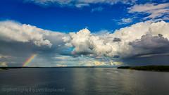 Landscape with rainbow (Petri Lopia) Tags: lg g4 lgg4 mobile phone lgh815 h815 phoneshot smartphone turku suomi sea meri vesi water blue cloud rainbow