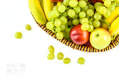 Basket full of fruits (WDnet) Tags: basket fruit isolated white fruits background food healthy apple banana green red yellow natural orange diet fresh harvest colorful health space wicker sweet group overhead freshness nutrition vitamin nature juice light concept spring lifestyle wood studio season antioxidants vegetarianism veganism d750