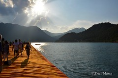 The Floating Piers - Christo, Iseo Lake, 2016 (EricaMassa15) Tags: christo artist art arte floating piers thefloatingpiers lake iseo iseolake lago diseo lagodiseo passerella water blue blu christoandjeanneclaude christojeanneclaude sun light lights luce sole sunset clouds nuvole