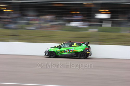 Ant Whorton-Eales at Rockingham during the Clio Cup, August 2016