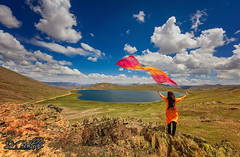 Gone With The Wind (SMBukhari) Tags: deosaiplains deosai sheosarlake girl clouds landscape pakistan