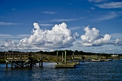 Docks - Explore #151 9-4-2016 - Beaufort South Carolina (Meridith112) Tags: sc southcarolina south carolinas clouds cloud river sky bluesky beaufort beaufortcounty lowcountry dock pier summer august 2016 nikon nikond610 nikon2485 batterycreek harborriver explore explored