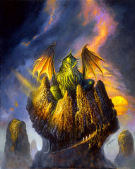 House of Cthulhu by Bob Eggleton, 2004 (Tom Simpson) Tags: houseofcthulhu cthulhu bobeggleton illustration vintage kaiju art painting 2004 2000s hplovecraft lovecraft