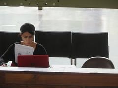 Working (dixmanx) Tags: mujer gente interior biblioteca vasconcelos silla estudio trabajo