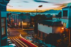 Golden Gate Bridge from Russian Hill at Sunset (masemase) Tags: california road trip san francisco golden gate bridge sunset water clouds city long exposure travel architecture car trails bay area russian hill fran marina cloudporn vsco californianaparoadtripsanfrancisco sanfrancisco unitedstates