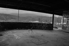IMG_1476 (AustinBoyes) Tags: abandoned building desolate decaying dog track racetrack race dogs black white old desert phoenix graffiti destroyed landscape