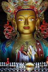 Maitreya Buddha - The Compassionate One (Anoop Negi) Tags: yak portrait india photography gold one for photo media candle image god photos buddha delhi indian bangalore creative buddhism images best monastery butter po sacred padme lamps om mumbai anoop votive mane ladakh hum gompa thiksey negi texts compassionate electirc maitreya photosof gelugpa ezee123 imagesof padem jjournalism