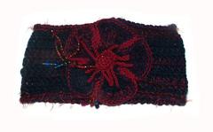 Royal Blue & Red headband - 2 (renatekirkpatrick) Tags: crochetflowers cowl earwarmers crochetheadband