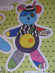 Teddy Bear Voodoo Doll front view (Glanoramay) Tags: bear cute kids fun toys doll teddy sewing craft kitsch fabric gift plushie patchwork custom patches voodoo glanoramay