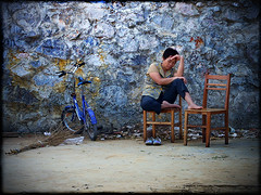 """""""All in all... (Michael Steverson) Tags: china blue sleeping woman bicycle wall fruit canon asian chinese tired chinadigitaltimes napping vendor guangxi ef1740mmf40l 5dmarkii shatang"""