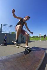 Front nose grind (Dan Hensey) Tags: park blue red sky fish eye nose skateboarding side skating front fisheye clear cap skatepark skate shorts vest zack skateboards grind baldwin frontside bogus