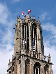 Celebrating 890 Years (indigo_jones) Tags: city blue sky holland tower history netherlands architecture clouds utrecht domtoren verjaardag nederland flags historic belltower celebration stunning festivities centrum 890 stadsdag