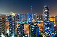 The Future is Now (DanielKHC) Tags: blue light lake digital marina nikon dubai view towers uae aerial hour dri jumeirah blending d300 nikkor105mmfisheye danielcheong danielkhc