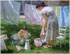 """Vladimir Gusev (Russia, 1957) """"Bathing"""" (oldsailro) Tags: park old boy sea summer people sun lake playing beach water pool girl sunshine youth sailboat race vintage children fun toy boat miniature wooden pond model waves sailing ship child time yacht antique group boom regatta mast hull spectators watercraft adolescence keel fashioned"""