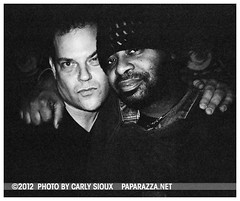 John Arthur Carr & Dany @ WIP (1) (carly_sioux) Tags: bw film brooklyn streetphotography wip nightlife pointshoot picturesofyou paparazza apolloheights artparties carlysioux
