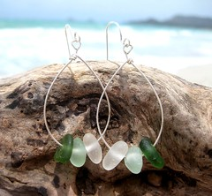 IMG_7558 (LindseysBeachGlass) Tags: blue sea white green beach glass colors leather silver hawaii wire aqua handmade teal jewelry clear bracelet hawaiian earrings seaglass rarecolor olibe