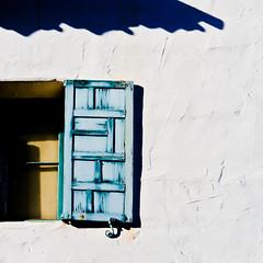 shutter wide open, plus a long exposure (MyArtistSoul) Tags: ca blue shadow building window santabarbara square open minimal shutter zeni 70200f4 5463