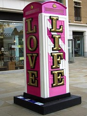 Words of wisdom (Justine Gordon) Tags: pink london gold colours jubilee telephonebox btartbox