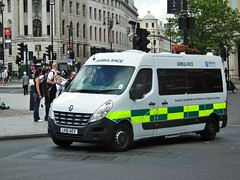 Medical Services PTS (kenjonbro) Tags: uk white london trafalgarsquare ambulance renault master charingcross sw1 10035 lwb medicalservices renaulttrucks patienttransportservice kenjonbro fujihs10 lk61aev