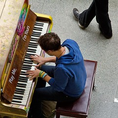 Play Me, I'm Yours - street piano, St Pancras Station, London (chrisjohnbeckett) Tags: music london piano aerial fromabove instrument twisted londonist stpancrasstation streetpiano canonef24105mmf4lisusm cityoflondonfestival chrisbeckett playmeimyours twistedfeet