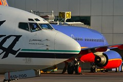 Different Colors (dkuttel) Tags: alaska oregon portland flying ramp aviation pdx boeing airlines 737 southwestairlines alaskaairlines swa 737700 kpdx 7377