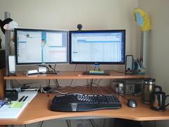 My Desk (Filmstalker) Tags: mobile computer keyboard desk brain mug monitors glovepuppet