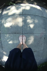 Me on a little concrete planet. (Maicdlphin) Tags: feet grey backyard pattern looking legs down fisheye patio tiles planet shorts tanlines sooc