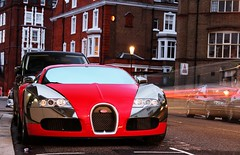 red-chrome Veyron (Fabian Rker | photography) Tags: uk light red france london beauty night canon eos power britain unique special chrome bugatti exclusive supercar hoya veyron carspotting molsheim 600d hypercar 1001hp gallambo fabainrker knightsbrifge