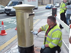 Gold postbox for Geraint Thomas (DJLeekee) Tags: gold cycling paint cyclist post mail box thomas painted cardiff royal medal postbox olympic london2012 geraint