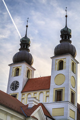 160521_201400_CB_9914 (aud.watson) Tags: europe czechrepublic moravia telc baroquearchitecture renaissancearchitecture churchofthenameofjesuszacharyofhradec church steeple tower