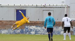 Robert Tiropoulos pushes the ball to safety to deny Perthshire (Stevie Doogan) Tags: clydebank glasgow perthshire exsel group sectional league cup wednesday 10th august 2016 holm park
