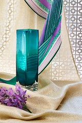 Aqua Vase with Scarf (Colleen Coombe) Tags: aqua blue delicate flowers stilllife tabletop vertical vase