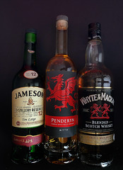 982 of 1096 (Yr 3) - Celtic spirits (Hi, I'm Tim Large) Tags: whisky whiskey bottle drink alcohol tabletop stilllife studio welsh wales scotch irish ireland scotland jameson penderyn whytemackay malt blended