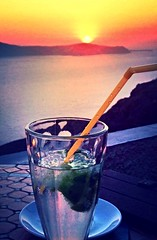 Enjoy Santorini (elirus1) Tags: glass ghiaccio ice menta cocktail enjoy egeo cyclades lovesantorini summer2016 greece sea sun mojitostime mojito sunset oia fira santorini