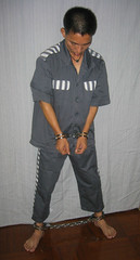 Extra heavy handcuffs & leg irons (asiancuffs) Tags: handcuffs handcuffed arrest arrested shackles shackled inmate prisoner