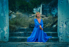Welcome to the Hotel California (Tazmanic) Tags: hotelcalifornia bajacalifornia steps ruins weeds model bluedress coolwash
