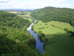 View from Symonds Yat Rock (southglosguytwo) Tags: 2016 augustbankholiday bankholidaymonday clouds latesummer riverwye sky symondsyat canoeists countryside trees view water