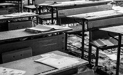 School tables and books (Dave and Jodi Piddington) Tags: chernobyl ukraine holiday decay abandonedbuildings death history nucleardisaster accident travel dark tourism darktourism photography architecture nuclear disasters adventure kiev blackandwhite