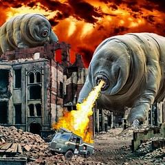 Attack of the tardigrades (Flamenco Sun) Tags: flamethrower warzone wartorn monster scifi apocalypse weird waterbear attack war tardigrade tard