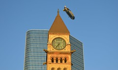 Goodyear Blimp 'Wingfoot Two' & 'Old' Toronto City Hall Clock Tower (Greg's Southern Ontario (catching Up Slowly)) Tags: goodyearblimp goodyearblimpwingfoottwo wingfoottwo goodyearblimptoronto toronto torontoist torontocityhall oldtorontocityhall clocktower clock nikon nikond3200 airship semrigidairship