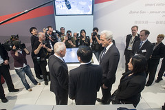 Rüdiger Grube, Zhenglin Feng and Peter Ramsauer meeting with Journalists at  the VIP Exhibition.