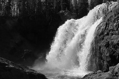 A Wide Shot of the Falls (andrewpug) Tags: blackandwhite white black fall water waterfall running wyoming rushing gushing