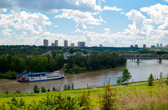Queen of the North Saskatchewan (Kurayba) Tags: park bridge trees sky plant canada water skyline clouds river landscape prime boat edmonton power pentax low north queen louise 01 alberta level valley riverboat riverfront saskatchewan q standard 85 fron mckinney f19 suntouched