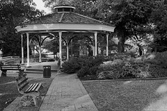 Collierville Tennessee (bhophotos) Tags: blackandwhite bw usa film geotagged nikon tn kodak tennessee gazebo f epson tmax400 townsquare 50mmf14 collierville midsouth ftn v700 nikkorsauto bruceoakley