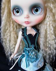Little aqua mohair Blythe girlie