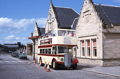 Ex Morecambe open-top KTF589 at the Stirling Stn stop. 1987. (David Christie 14) Tags: bus stirling morecambe opentop