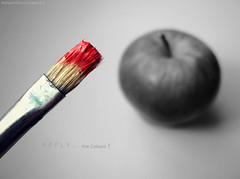 Apply The Colours ! ( Shaima ~) Tags: red bw apple paint colours brush apply colourfullife