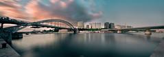 Two Bridges (A-lain W-allior A-rtworks) Tags: paris water seine pose nikon eau long exposure raw pano wide bridges sigma panoramic pont 1020mm fleuve longue d300s