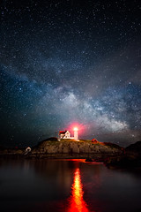 Milky Way Nubble Light (moe chen) Tags: ocean park lighthouse seascape reflection water night way stars landscape island atlantic cape milky neddick nubble sohler